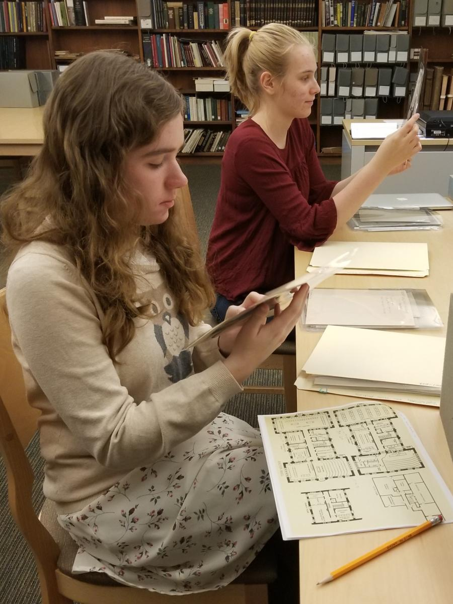 Courtney Dalton and Jocelyn Dunkley researching in Bryn Mawr College's Special Collections